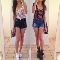 Crop tops and high-waisted shorts