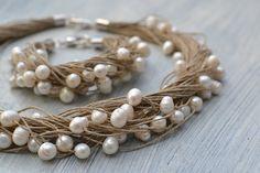 Perla lino pulsera Natural blanco perla pulsera perla por KARUBA