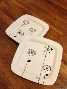 Hand Painted Pottery - Square dinner plates - 9.0  Diameter. & Hand Painted Pottery - Square dinner plates - 9.0