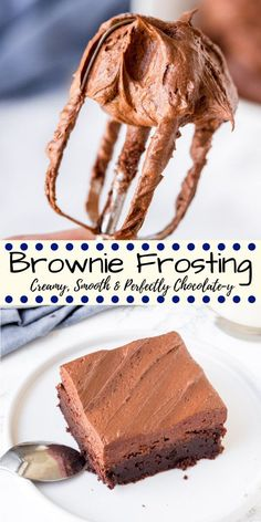 Brownie Frosting - Creamy, Smooth & 5 Minutes to Make Looking for the perfect chocolate frosting for brownies? This brownie frosting is creamy, extra smooth, perfectly chocolatey and designed specifically for brownies. Chocolate Frosting For Brownies, Brownie Frosting, Icing Frosting, Homemade Brownies, Chocolate Chip Cookie Dough, Chocolate Desserts, Chocolate Buttercream, Brownie Cake, Frosted Brownies