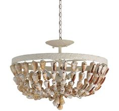 Currey and Company 9898 Waterside 3 Light Convertible Shell Pendant / Flush Moun White Coral / Natural Indoor Lighting Pendants