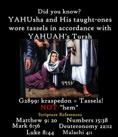 """Tzitzit in Hebrew = Tassels, Kraspedon in Greek; Not """"hem"""". And YHVH has sanctified us through HIS MITZVOT and has commanded us to wrap ourselves in Tzitzit..."""