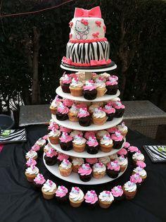 Hello Kitty Zebra cake and cupcakes yum! Hello Kitty Cake Design, Cupcakes, Cupcake Cakes, Biscuits, Birthday Ideas, Birthday Parties, Beautiful Birthday Cakes, Hello Kitty Birthday, Kitty Party