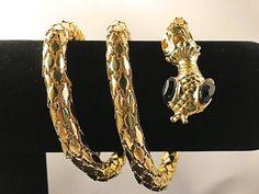 COILED SNAKE BRACELET - Rhinestone Bracelet, Wrap Bracelet, Gold Tone Snake Jewelry, Egyptian Revival Bracelet, Gold Mesh Cleopatra Bracelet by IridiumJewelry on Etsy