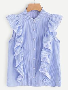Shop Frill Trim Button Up Striped Blouse online. SheIn offers Frill Trim Button Up Striped Blouse & more to fit your fashionable needs. Cute Blouses, Blouses For Women, Red Long Sleeve Tops, Stylish Tops, Blouse Designs, Fashion Outfits, Women's Fashion, Shirt Dress, Red Silk