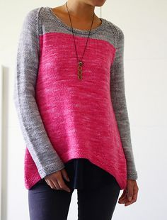 Cala Luna is a simple to knit pullover with A-line shaping and curved hemline. It is a color block design worked in a light worsted weight yarn.