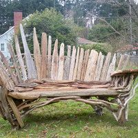 Furniture Made with Driftwood | bench, driftwood furniture,garden, beach,or deck art made by ...
