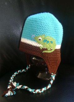 Crochet Cameleon Lizard Earflap Beanie Hat - Etsy $25.00