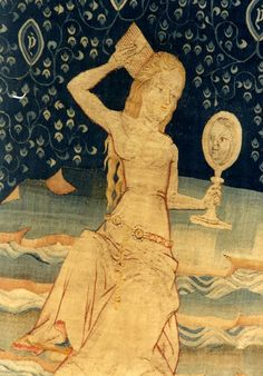 The Whore of Babylon, from the Apocalypse Tapestry series, 1377-1382 (Château d'Angers, Angers, France). Commissioned by Louis I, the Duke of Anjou. Designed by Jan Baudolf, partly woven by Robert Poinçon, coordinated by Nicolas Bataille. The series consisted of 90 scenes organized in 6 pieces of 5.5 by 25 meters each, over 800 square meters in total.: