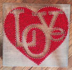 Valentine valentines day custom string art heart red love patterns string a String Art Heart, String Wall Art, Nail String Art, String Crafts, Diy Wall Art, Diy Art, Wall Decor, Diy Crafts, String Art Templates