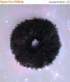 okaywowcool:  black faux fur scrunchie| discount: okwowcool