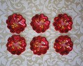 Ruby Red Set of 6 Sequin Hibiscus Appliques