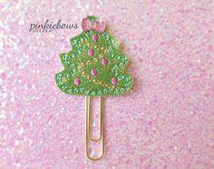 READY TO SHIP/Sparkle Green/Christmas Tree Applique Paper Clip/Planner Paper Clip/Journal Marker/Bookmark by pinkiebows on Etsy