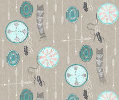 Turquoise   Coral Dreamcatcher Custom Fabric By Nouveau Bohemian - Cotton Fabric by the Yard with Spoonflower. One, or more, yard(s) of Spoonflower Custom Printed Fabric. All Spoonflower fabrics are printed in Durham, North Carolina, by a merry group of fabric lovers. | eBay!