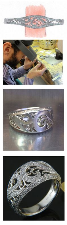 Full process! From drawing to jeweler to cast to finished product!! Beautiful antique style engagement ring with curling organic feel.