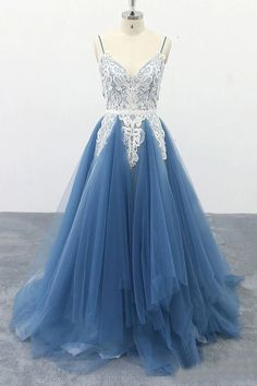 Spaghetti Straps A Line Multi-Layers Party Dresses Ivory Appliqued Blue Tulle Prom Dresses Straps Prom Dresses, Open Back Prom Dresses, Elegant Prom Dresses, Tulle Prom Dress, Lace Dress, Formal Dresses, Party Dresses, Tulle Lace, Quince Dresses