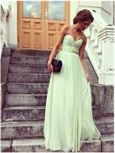 Custom Made A Line Sweetheart Neck Sage Long Dress Prom b8ffb9fef1e9
