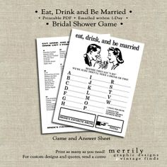 Bridal Shower Game  Printable  Eat Drink and Be by MERRILYdesigns, $6.00