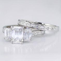 Channel set baguette wedding ring