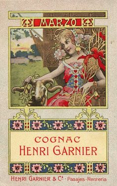 Henri Garnier cognac calendar illustrated by Gaspar Camps, circa Vintage Labels, Vintage Ads, Vintage Food, Vintage Wine, Vintage Ephemera, Art Nouveau Mucha, Art Nouveau Illustration, Jugendstil Design, Nostalgic Images