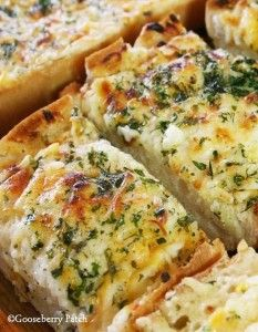 Cheesy Garlic Bread (Bake 10 to 20 minutes at 375) Butter, garlic cloves, creamy Italian salad dressing, Italian bread, shredded cheddar or mozzarella cheese, and dried parsley.
