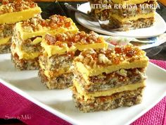 Prajitura Regina Maria Romanian Desserts, Romanian Food, Layered Desserts, Small Desserts, Coffee Dessert, Dessert Bars, Special Recipes, Unique Recipes, Coffee And Walnut Cake