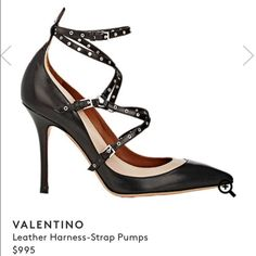 """‼️FLASH SALE‼️Like New Valentino Love Latch Ankle Strap Pump. Beautiful used twice pump in Kid leather. Black and beige. 4"""" heel. Valentino Shoes Heels"""
