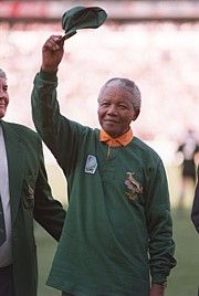 Our hero, our Madiba | Nelson Mandela walks onto the field for the opening game of the Rugby World Cup in 1995.