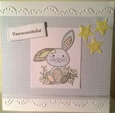 Baby card. Stamp: Oscar the Owl and Pals. Lace die: Memory Box. / Vauvakortti.