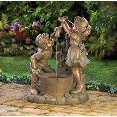 "Fun And Play Children Garden Water Fountain. What's more refreshing than a cool drink on a hot day? Beautiful bronze-look Fun And Play Children Garden Water Fountain shows two children at innocent play in the garden. Weathered finish adds instant antique appeal! Outdoor use only. 120 volts/ 60 HZ electric pump. Weight 30 lbs. Polyresin. Submersible pump included. UL Recognized. 19 5/8"" x 14 3/8"" x 26 1/8"" high. Due to the size and weight of this item, it can only be shipped within the..."
