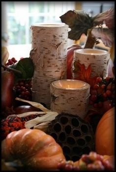 Fall decor. Candles in birch. Autumn centerpiece idea.