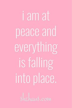I am at peace Everything is finally falling into place. Praise be to Lord and Savior. Positive Affirmations Quotes, Wealth Affirmations, Law Of Attraction Affirmations, Affirmation Quotes, Morning Affirmations, Motivational Quotes For Women, Inspirational Quotes, Monólogo Interior, Encouragement