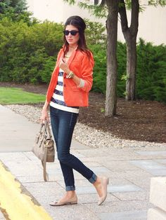 Stripes, coral, skinny jeans, nude shoe