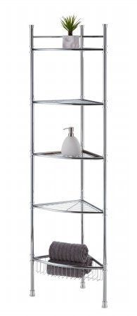 Best Living Adjustable 5 Tier Bathroom Corner Shelf   Chrome By Best Living  Inc.