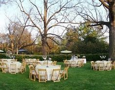 Backyard wedding table setting layout. Add some umbrella's to add that something else.