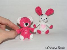 """Collectible miniature toys, crochet Amigurumi animals set, small bear crocheted, little bunny with pink heart, Easter gift, children's toys, Valentine's day gift,   ------------------------------------------------------------------------------------------------  Measurements:  The little bear measures approx - 6.8 cm (2.6 """") height and 5 cm (1.96 inches) width  The little bunny measures approx - 9 cm (3.5 """") height and 5 cm (2 ') width    Price is for both toys !    This crochet set of toys…"""