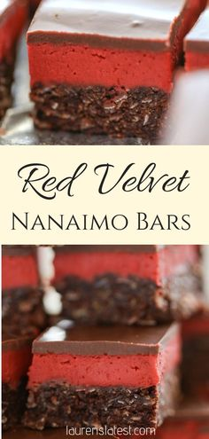 Red Velvet Nanaimo Bars are rich, creamy, and best of all. no bake! A festive twist on a traditional Canadian recipe perfect for the holidays! Red Velvet Nanaimo Bars are rich, creamy, and best of all. no bake! New Year's Desserts, Valentine Desserts, Cute Desserts, Potluck Desserts, East Dessert Recipes, Italian Desserts, Chocolate Desserts, Italian Recipes, Nanaimo Bars