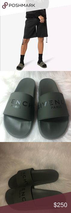 8cd120c35de2 Givenchy Paris Mens Black Green Logo Rubber Slide NB Givenchy Paris Mens  Black Green Logo Rubber