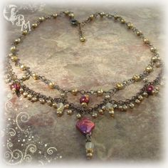 Beaded Pearl Necklace by CreationsbyMoonlight on Etsy, $155.00