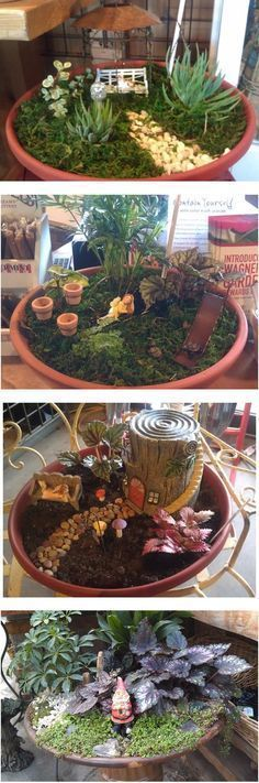 Fairy Garden ideas. Like how it is in a pot. Could be put in our garden bed.