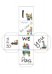 English worksheet: Personal Pronouns (Subject Pronouns) Cube / Dice (by blunderbuster)