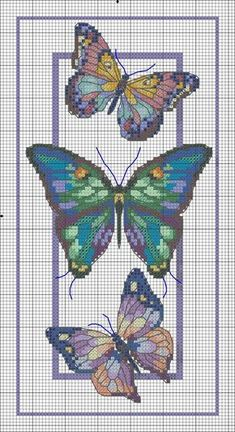 Butterfly cross stitch and chart. Cross Stitch Bookmarks, Cross Stitch Cards, Cross Stitch Kits, Cross Stitching, Cross Stitch Embroidery, Embroidery Patterns, Butterfly Cross Stitch, Cross Stitch Heart, Cross Stitch Animals