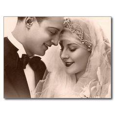 Vintage Hochzeits Braut und Bräutigam Postkarten