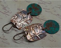 Rustic  Copper Earrings by SunStones on Etsy, $15.00