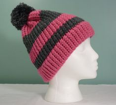 Pink and Gray Stripe Knit Hat, Womans Knit Beanie, Knit Stocking Cap, Winter Accessory, Thick Knit Hat, Slouchy Knit Beanie - Ready to Ship