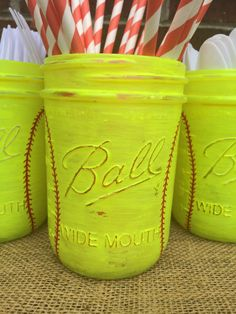 Girls Softball Mason Jars. Softball Party by MonisMasonCreations