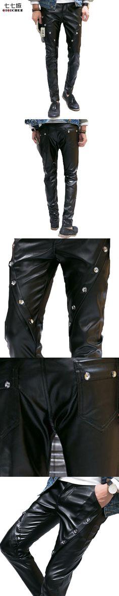 Autumn Winter New Black Skinny Leather Pants Men Personality Trend Button Design Casual Trousers Slim Biker PU Leather Pants Men