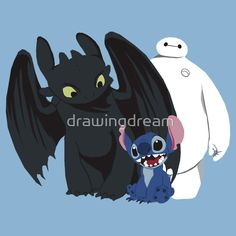 """Toothless,Stitch and Baymax"" T-Shirts & Hoodies by drawingdream Baymax, Disney And Dreamworks, Disney Pixar, Disney Characters, Cartoon Kunst, Cartoon Art, Big Hero 6, Cute Disney, Disney Art"