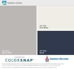 Sherwin Williams March Wind, Pure White, and Naval