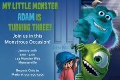 Monsters Inc Invitation--Disney--Birthday Party--Customize